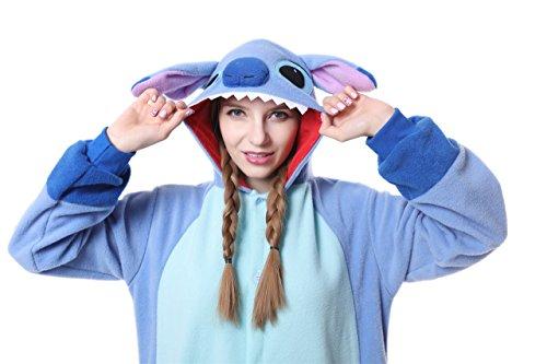 Blauer Pyjama für Erwachsene aus warmem Flanellstoff, Einteiler, Stitch-Design, Unisex Blue New Stitch - 5