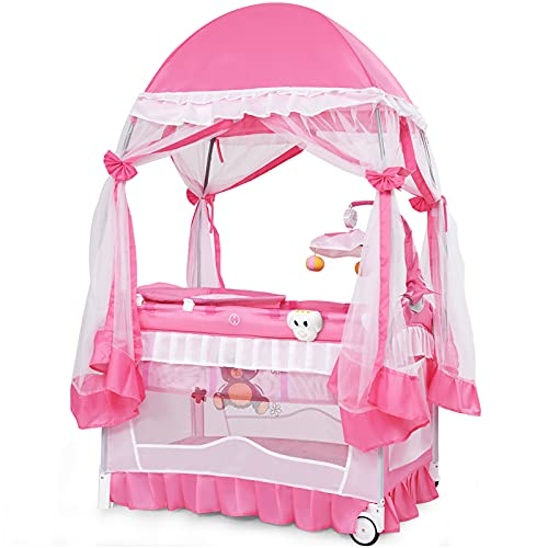 HONEY JOY 4-in-1 Pack and Play with Bassinet, Portable Baby Playard w/Changing Table, Full-Size Infant Bassinet, Side Zippered Door, Cute Toys & Music, Toddler Play Yard with Safety Tent Canopy, Pink