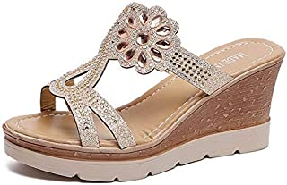 CHENDX Summer New Fashion Rhinestone Women's Slippers Beautiful Large Size Wedge Sandals
