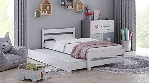 Children's Beds Home - Cama individual con nido - Simba para niños pequeños y adolescentes - Tamaño 160x80, Color Blanco, Colchón 9 cm Espuma Colchón