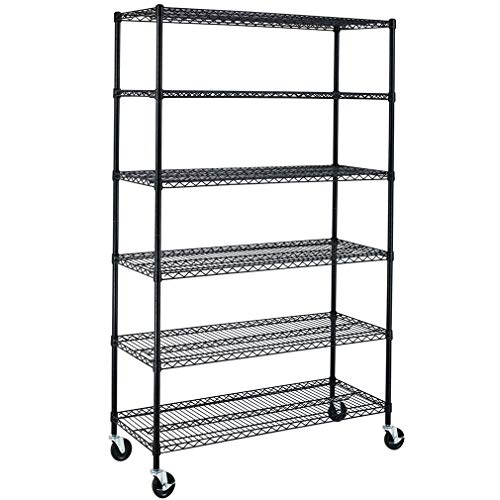 BestMassage Wire Shelving Unit Heavy Duty Garage Storage Shelves Large Metal Shelf Organizer 6-Tier Height Adjustable Commercial Grade Utility Steel Storage Rack with Wheels,18 x 48 x 76 (Black)