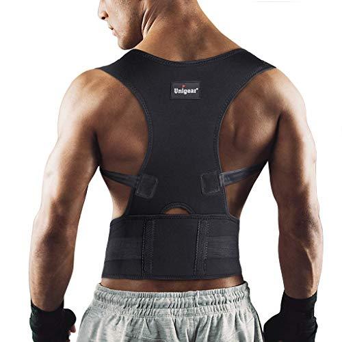 Unigear Corrector de Postura para Espalda Hombro Aliviar Dolor de Columna Cinta Ajustable y Cómoda Sujetador Cinturón Corrección de Postura Respirable para Mujeres y Hombres (L.)