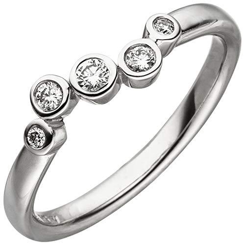 JOBO Damen Ring 585 Gold Weißgold 5 Diamanten Brillanten 0,14ct. Diamantring Größe 56
