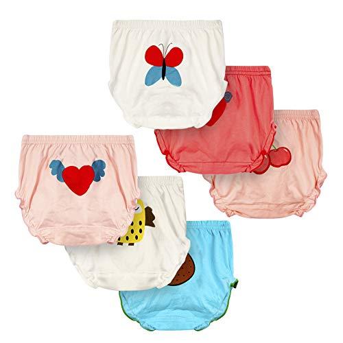 LPATTERN Baby/Kleinkind Jungen & Mädchen 6er Pack Baumwolle Unterhose Unterwäsche Höschen Schlüpfer Slips, A/Schmetterling+ Eule, 104-110| 110CM 17-19KG