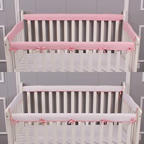 Belsden 4 Pack Safe Crib Rail Cover Set for Entire Crib Rails, Soft Padded Breathable Crib Teething Guard and Protector for Baby Boys Girls, Reversible Colors, Pink & White
