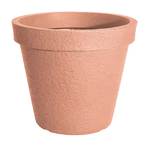 Spetebo XXL Pflanzkübel Terracotta in Steinoptik - 38 cm - Kunststoff Blumenkübel Blumentopf Pflanztopf Pflanzgefäß
