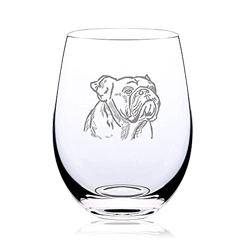 La Diffy Stemless Wine Glasses Fathers Mothers Day Gifts Wedding Anniversary Christmas Birthday Graduation English French American Bulldog Ornament Gift for Dog Mom Women Wine Lovers