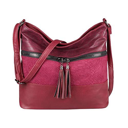 OBC Only-Beautiful-Couture, Borsa tote donna Rosso Bordo 35 x 29 x 10 cm