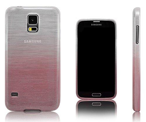 Xcessor Transition Farbe Flexible TPU Case Schutzhülle für Samsung Galaxy S5 SM-G900. Mit Gradient Silk Gewinde Textur. Transparent/Rosa