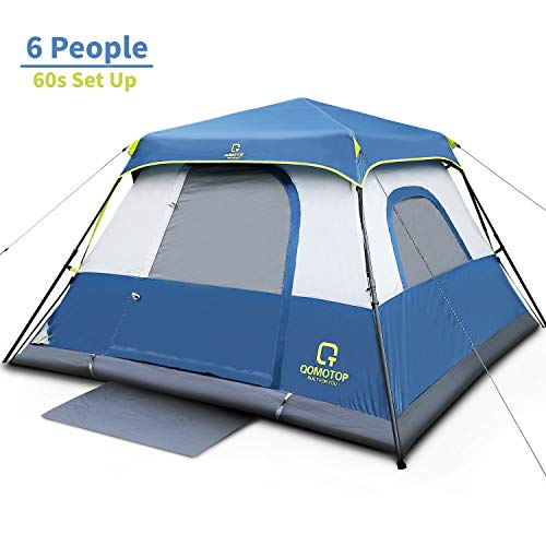 QOMOTOP 6 Person Fast 60 Seconds Easy Set Up Instant Cabin Tent, Camping Tent, Provide Top Rainfly, Waterproof Tent Advanced Venting Design, with Electrical Cord Access Port and Gate Mat