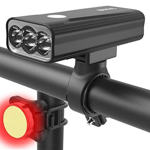 BIKIL luz bicicleta 6400mAh,luz bici Potente 2400 Lúmenes,luces bicicleta delantera y trasera recargable,Linterna LED Impermeable para Ciclismo Carretera y Montaña para la Noche