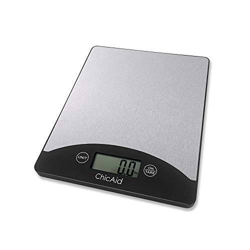 Digital Kitchen Food Scale ChicAid Multifunction Weighing Scale for Baking Cooking Dieting 11lb 5kg LCD Display Lightweight and Portable Stainless Steel Top Easy to Clean