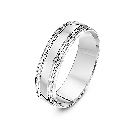 Theia 9 ct White Gold, Diamond Shaped Design with Polished Milgrain/Beaded Edges, 6 mm Wedding Ring - Size Q