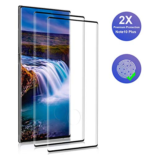 YIEASY Cristal Templado para Samsung Galaxy Note 10 Plus, 2 Unidades 9H Dureza 3D Cobertura Completa Vidrio Templado, Alta Sensibilidad, Sin Burbujas Protector de Pantalla para Samsung Note 10 Plus