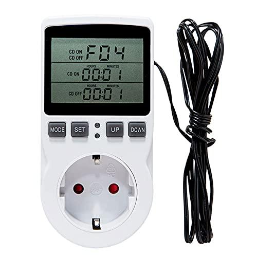 solawill Digital Termostato Enchufe Calentamiento Enfriamiento con Sonda 220V, Controlador de Temperatura Enchufe Momento Cuenta Regresiva para Incubadora Invernadero Acuario Reptil
