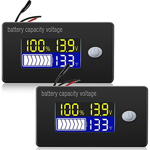2 Misuratori di Tensione Capacità di Batteria con Allarme e Sensore di Temperatura Esterno Monitoraggio di Temperatura 0 - 179 ℉ 12V 24V 36V 48V 60V 72V Indicatore di Livello di Batteria