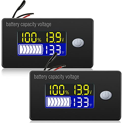 2 Medidores de Voltaje de Capacidad de Batería con Alarma y Sensor de Temperatura Externo Monitor de Temperatura 0 - 179 ℉ Batería de Litio Batería de Ácido Sólido 12V 24V 36V 48V 60V 72V