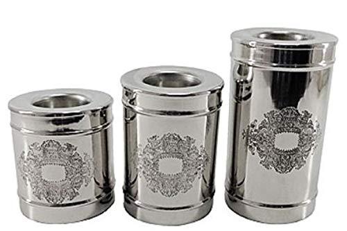 Casa Padrino Jugendstil Teelichthalter Set Silber - 3 Runde Messing Teelichthalter - Deko...