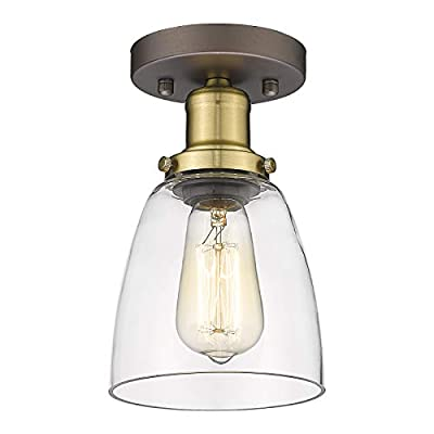 Vintage Semi Flush Mount Ceiling Light - HWH Insutrial Close to Ceiling Light Fixture Clear Glass Shade for Porch, Entryway, Bedroom, Oil-Rubbed Bronze Finish, 5HZG43F2 ORB+BG