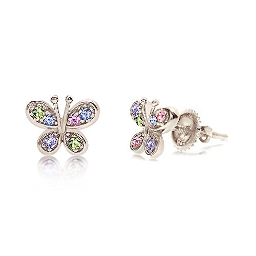 925 Sterling Silver Butterfly Earrings for Kids Screwback Twist on Studs With Swarovski Crystal Elements Safe Hypoallergenic For Girls Children Infants Toddlers Babies and Tween White Gold Toned