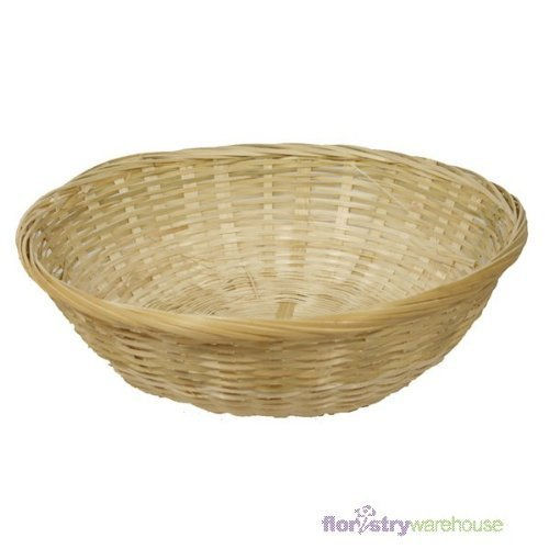 FloristryWarehouse Round Wicker 10 inch Fruit Baskets.. Empty 25cm food gift hamper by FloristryWarehouse
