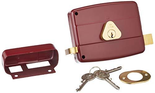 Cisa 50121 Serratura da Applicare, per Porte Legno, Entrata Destra, 60 mm, Acciaio Verniciato Color Rosso Amaranto, 60