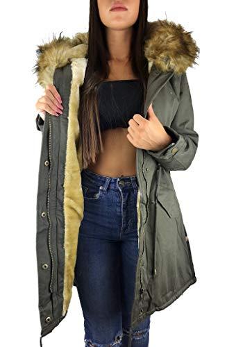 Worldclassca Damen Parka Winter Jacke Camouflage KUNSTFELL XXL Kapuze Mantel Fashion Jacket MIT REIßVERSCHLUSS GEFÜTTERT WARM Army GRÜN Military Blogger Trend NEU S-XL (S, Khaki+Beige+Camou)