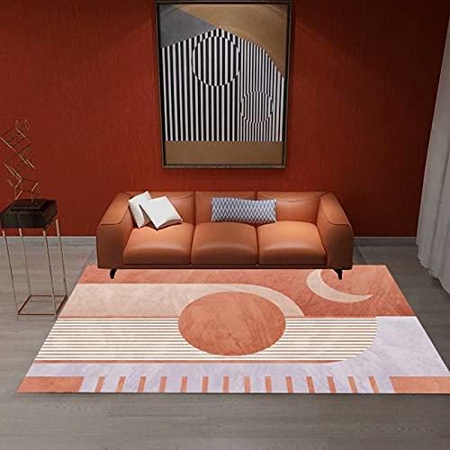 Alfombra moderna para salón (80 x 120 cm), para dormitorio, salón, de pelo corto y con cuadros grandes, ideal para interiores y salones