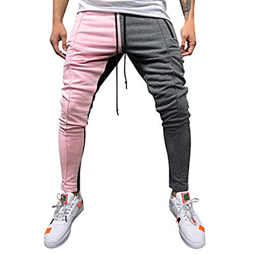 Stoota 2019 Men's Casual Solid Loose Patchwork Color Sweatpant Trousers Jogger Pant Pink