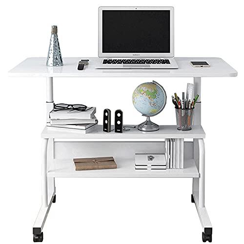 LJFYXZ Mesa de Ordenador Escritorio portátil para computadora portátil Altura Ajustable 3 Capas de Almacenamiento Mesa de sofá Mesa de Cama Los 60/80 * 40cm Blanco(Size:80x40cm)