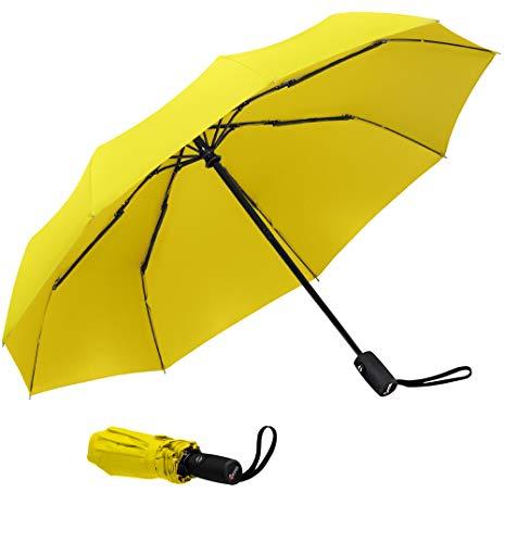 Paraguas de viaje amarillo resistente al viento