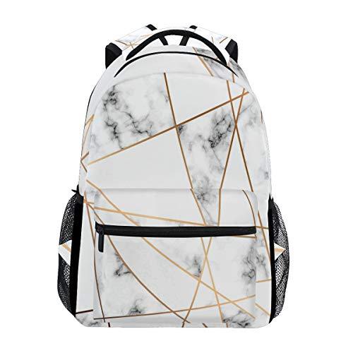 WXLIFE Marble Golden Geometric Line Backpack Travel School Shoulder Bag for Kids Boys Girls Women Men