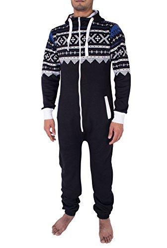 NOROZE Hommes élégant Tout en Un Jumpsuit Onesie Une pièce Pyjamas, Noir, S