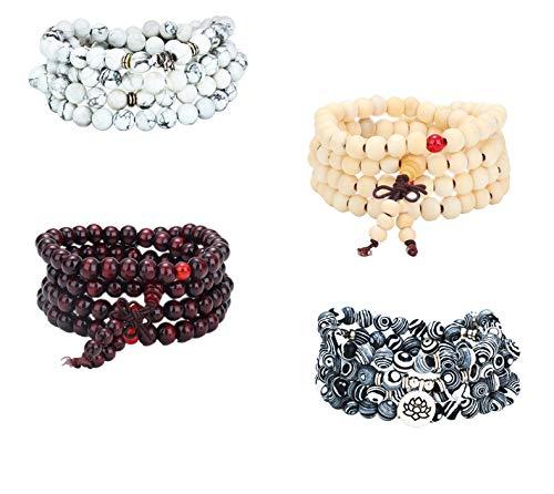 Milacolato 4 Piezas 8 mm Pulsera De Madera para Hombres Mujeres 108 Mala Beads Pulsera Colgante Collar Cadena para Hombres