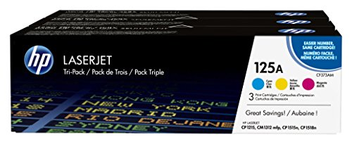 HP 125A | CB541A, CB542A, CB543A | 3 Toner Cartridges | Cyan, Yellow, Magenta