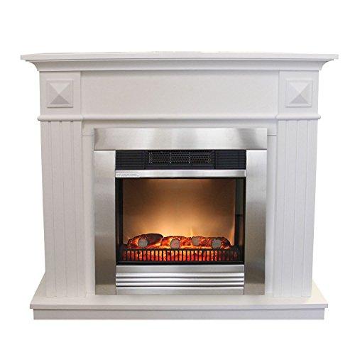 Elektrischer Edelstahl Kamin 1800W LED Feuersimulation inklusive Kaminumrandung 110x36x96cm Elektrokamin Kaminkonsole MDF weiß