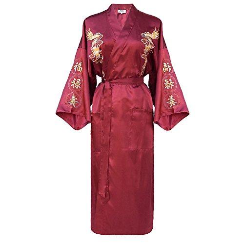 Bon amixyl Bata bata de baño Atin Ilk Albornoz Kimono vestido del dragón bordado Yukata Hakma la vendimia para S Rosa, Rosa