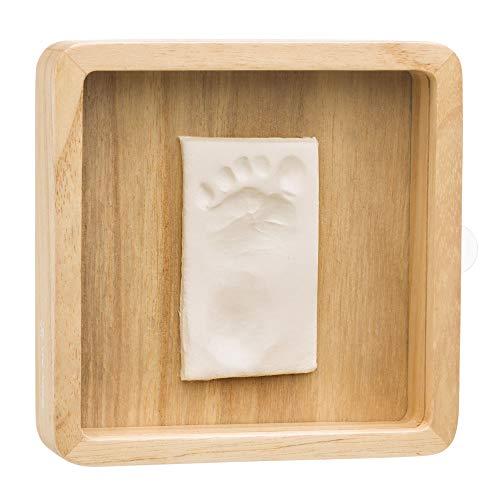 Baby Art Magic Box Wooden Kit empreintes de bébé pour réaliser des empreintes de mains et de pieds de bébé, avec étui en bois et protection transparente, couleur bois