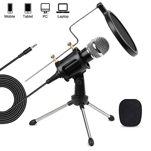 3.5mm PC Mobile Microphone Computer Condenser Studio Mic Plug & Play with Tripod Stand & Pop Filter for Chatting/Skype/YouTube/Recording/Gaming/Podcasting for Mobile PC Computer Notebook Mac iPhone