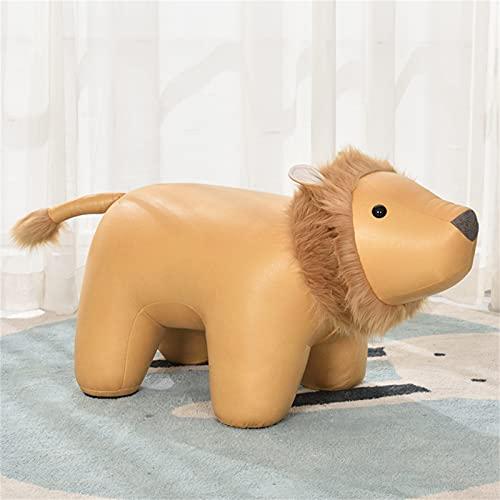 WXXSL Poggiapiedi a Forma di Animale, Sgabello Giocattolo per Bambini Ottomano Decorative Sedie, Tessuto Eco-Tech Facile da Mantenere,Giallo,Lion