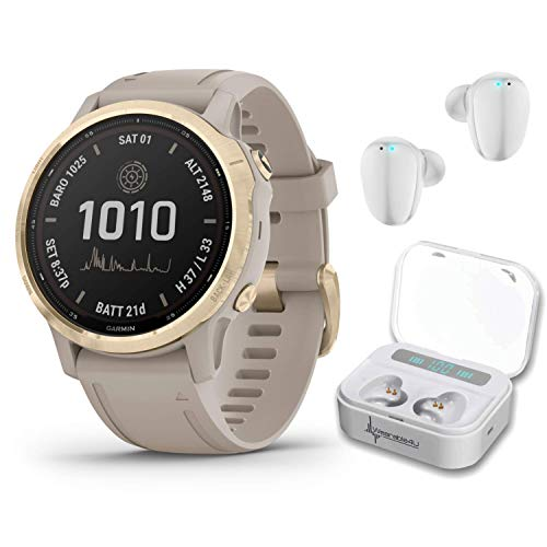 Garmin Fenix 6S Pro Solar Women of Adventure Premium Multisport GPS Smartwatch with Included Wearable4U Ultimate White Earbuds with Charging Power Bank Case Bundle (Light Gold w/Light Sand Band)