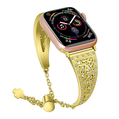 YGGFA Bling - Pulsera de lujo para Apple Watch de 38 mm y 40 mm para iWatch Series 5/4/3/2/1, correa de reloj rosa para mujer, con diamantes (color de la correa: dorado, tamaño: 42 mm 44 mm)