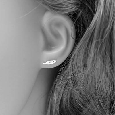 HOX Hypoallergene Mode S925 Sterling Zilver Pin Mini Kleine Veer Oorbellen Art Kleine Verse Mode Zilver Sieraden Vrouwelijke Accessoires, Zoals getoond