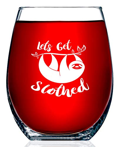 Sloth Gifts – Let's Get Slothed – Funny Unique Novelty Stemless Wine Glass Birthday or Christmas Gifts For Her or Him, Best Friend, or Co-Worker – (15 OZ)