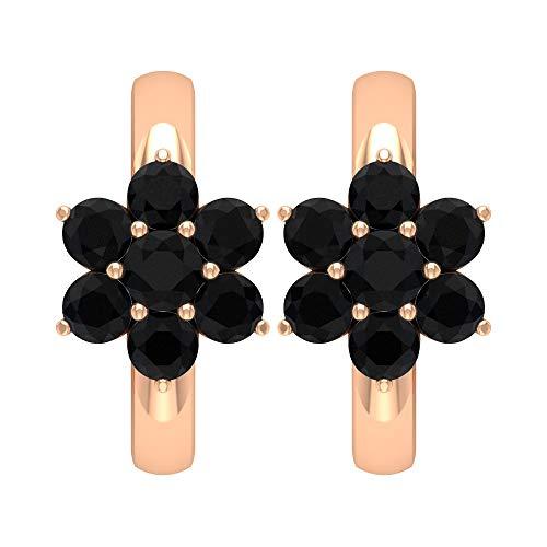 Pendientes Flower Hopp, 1/2 CT Negro Onyx Pendientes, Pendientes de boda de oro 18K Oro rosa, Par
