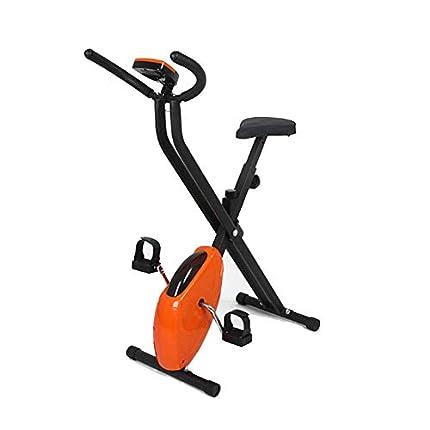 AYHa Bicicleta estática plegable, bicicleta estática para interiores Ajuste de resistencia ilimitado Bicicleta estática silenciosa con dial electrónico adecuada para ejercicio aeróbico en interiores