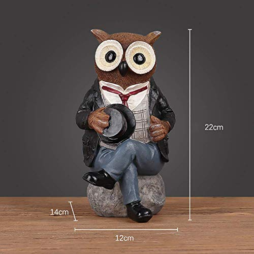 APAN Owl Statue Home Decor,Colorful Figurine Statue,Cute Statue For Tabletop Shelf Art Display Good Luck B 22x12x14cm(9x5x6inch)