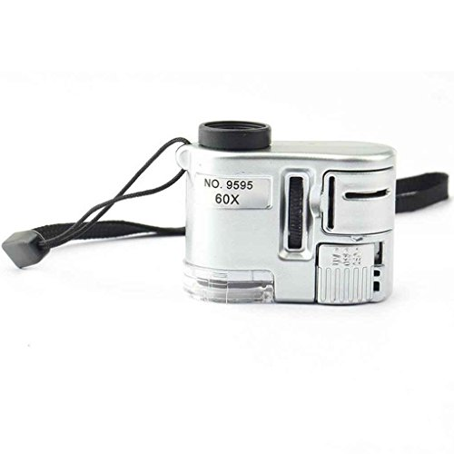 Pandiki Mini 60x Taschen-Mikroskop Schmuck Lupe Lupe Glas LED-UV-Licht