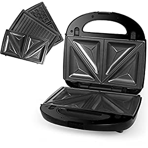 Kuyal 3-in-1 Snack Maker with Waffle, Panini and Toasted Sandwich Plates, 750W Sandwich Toaster Maker, Waffle Machine, Panini Press, LED Indicator Lights, Cool Touch Handle, Anti-Skid Feet, Black