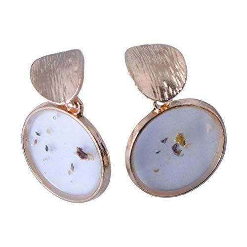 ZHOUBAA Pendientes de moda para mujer, 2 piezas geométricas de concha accesorios de joyería cuadrados retro pendientes de aleación para fiesta, Zinc,